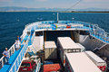 Passenger ship large transporting passengers and cars to an island in greece Stock Image