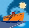 Passenger ship people boarding Royalty Free Stock Photo