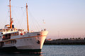 Passenger ship sea landscape with vessel at sunset Royalty Free Stock Photography