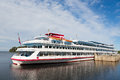Passenger ship standing at the pier on the island of Valaam Royalty Free Stock Photo