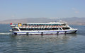 Passenger ship whith a passengers on izmir bay on izmir background photo taken on may th Royalty Free Stock Photography