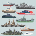 Passenger ships and battleships. Submarine destroyer in the sea. Water boats vector illustrations in flat style