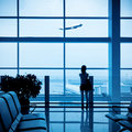 Passenger silhouette in airport Royalty Free Stock Image