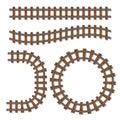 Passenger train vector rail tracks brush, railway line or railroad elements isolated on white background