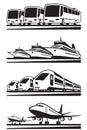 Passenger transportation vehicles illustration Royalty Free Stock Photos
