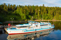 Passenger vessel is off the coast of the island of Valaam in the Royalty Free Stock Photo