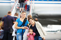 Passengers on the airliner background Royalty Free Stock Photo