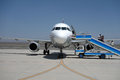 Passengers boarding in turpan airport located xinjiang china Royalty Free Stock Photos