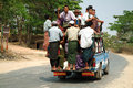Passengers crowded mandalay myanmar march local unidentified peoples in myanmar rural areas commute dailyand dangerously in Royalty Free Stock Photography