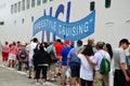 Passengers queue to board cruise ship norwegian gem Stock Photo