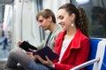 Passengers reading in metro wagon Royalty Free Stock Photo