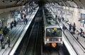 Passengers on RER platform Royalty Free Stock Photo