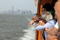 Passengers on staten island ferry nyc in Stock Photography