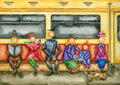 Passengers of a subway car the in the reading book watercolor drawing Royalty Free Stock Photo