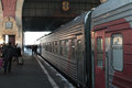 Passengers by train on kazanskiy railway station moscow russia Stock Image
