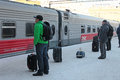 Passengers by train on kazanskiy railway station moscow russia Stock Photo