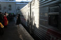 Passengers by train on kazanskiy railway station moscow russia Royalty Free Stock Images