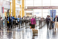 Passengers in the TSA line in an airport Royalty Free Stock Photo
