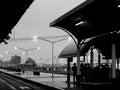 Passengers waiting for train at platform Royalty Free Stock Photo