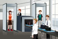 Passengers walking through security check a vector illustration of Stock Photography