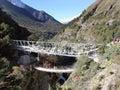 Passerelle de suspension - Népal Photographie stock libre de droits
