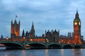 Passerelle de Westminster avec grand Ben Photos libres de droits