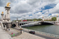 Passerelle Paris France d'Alexandre III Photographie stock libre de droits