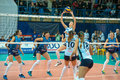 Passing attacker moscow russia december unidentified players in action during the game on women s russian volleyball championship Royalty Free Stock Photos