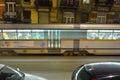 Passing speeding  tram at night Royalty Free Stock Photo