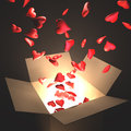 Passion box open with heart and light inside concept of love Stock Photo