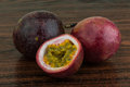 Passion fruit asian on the wooden background Royalty Free Stock Photos