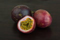 Passion fruit asian on the wooden background Royalty Free Stock Image