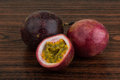 Passion fruit asian on the wooden background Royalty Free Stock Photography