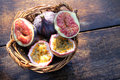 Passion fruit and figs tropical fruits passiflora ficus fruits on nostalgia background Stock Images