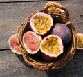 Passion fruit and figs tropical fruits passiflora ficus fruits on nostalgia background Stock Photography