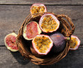Passion fruit and figs tropical fruits passiflora ficus fruits on nostalgia background Royalty Free Stock Photo