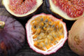 Passion fruit and figs tropical fruits passiflora ficus fruits on nostalgia background Royalty Free Stock Images