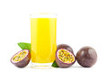 Passion fruit juice fresh with fruits on white Stock Images