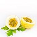Passion fruit or maracuya on white background Royalty Free Stock Images