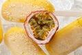 Passion fruit  popsicle yummy fresh summer fruit sweet dessert still life Royalty Free Stock Photo