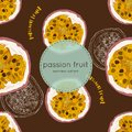 Passion fruit vector illustration, hand draw seamless pattern.