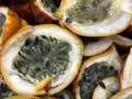Passion fruits sliced in half Royalty Free Stock Photo