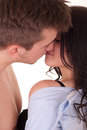 The passion of love beautiful young women and men closeup Stock Image