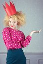 Passion woman in red crown studio shot Royalty Free Stock Photography