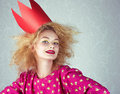 Passion woman in red crown studio shot Royalty Free Stock Photos