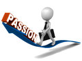 Passion word rising on an arrow little business riding the arrow of growth in personal and business Stock Images