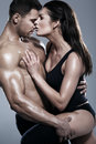 Passionate couple in the studio Royalty Free Stock Images