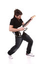Passionate guitarist playing isolated white Stock Images