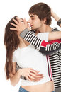 Passionate kiss of couples in love Stock Image