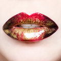 Passionate red shiny lips macro photography Stock Photos